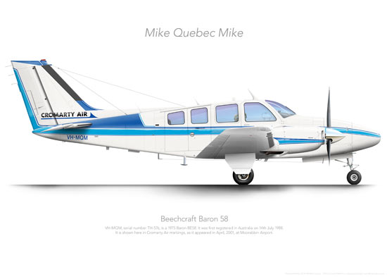 Beechcraft Baron 58 VH-MQM Cromarty Air Print