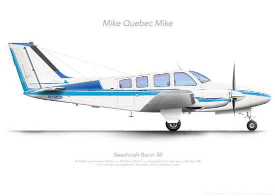 Beechcraft Baron 58 VH-MQM Private Print