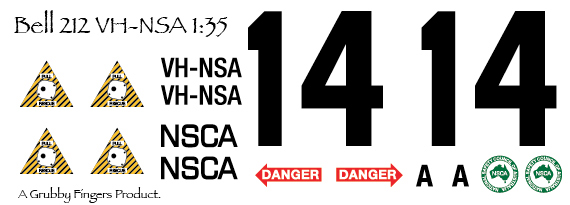 1/35 Bell 212 VH-NSA NSCA Decals