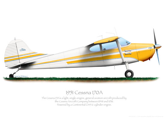 Cessna 170A Yellow Print