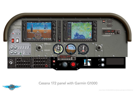 CESSNA 172 GARMIN 1000 PANEL PRINT 480x330mm