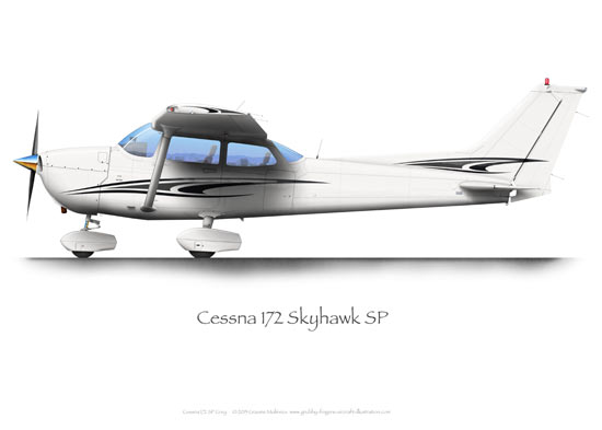 Cessna 172 SP Grey A3+ Print