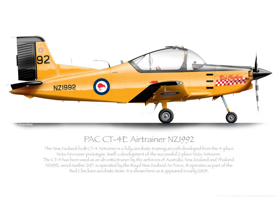 PAC CT-4E AIRTRAINER NZ1992 RNZAF O PRINT